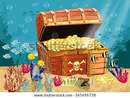 Underwater scenery with an open pirate treasure chest - stock vector