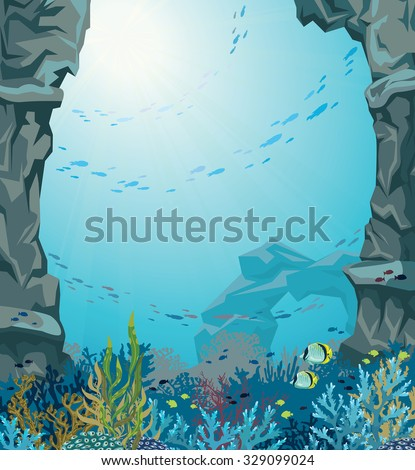Underwater sea cave and coral reef with school of fish on a blue background. Nature vector seascape. - stock vector