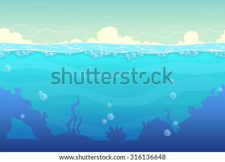 Underwater seamless landscape, sea vector background - stock vector