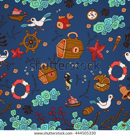 Underwater  seamless pattern of elements on the tropic sea life. Marine collection. Summer template. Use for wallpaper,pattern fills, web page background.