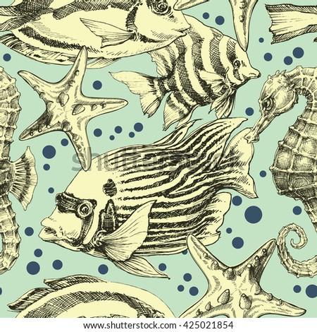 Underwater seamless pattern,  vintage style - stock vector