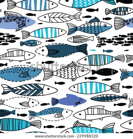 Underwater seamless pattern with fishes. Seamless pattern can be used for wallpapers, web page backgrounds. - stock vector