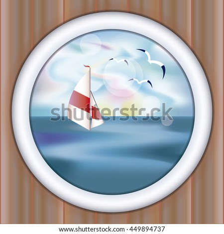 Underwater ship porthole wallpaper with yacht, vector illustration