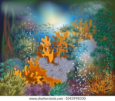 Underwater tropical card, vector illustration