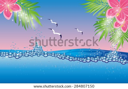 Underwater tropical card, vector illustration - stock vector