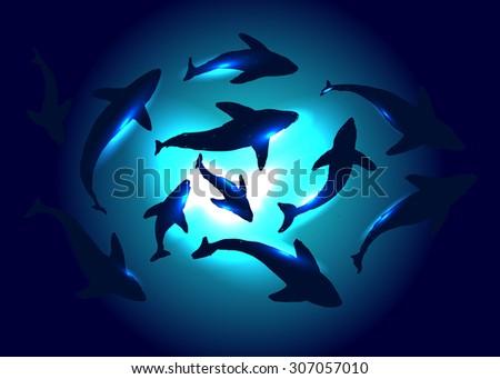 underwater vector background - stock vector