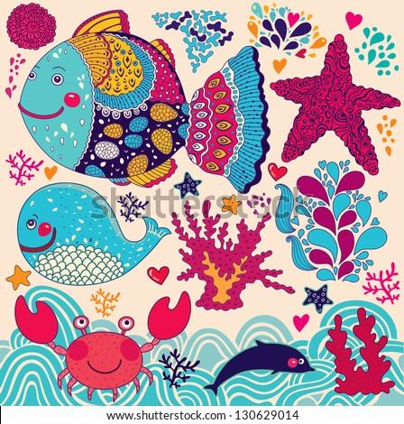 Underwater. Vector cartoon illustration - stock vector