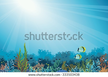 Underwater vector illustration - colorful coral reef with school of fish and two butterfly-fish on a blue sea background. Seascape image. - stock vector