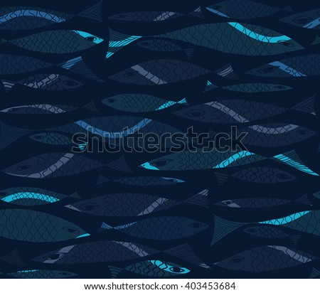 Underwater vector pattern with fish. - stock vector