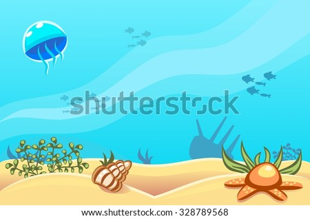 Underwater vector world background with jellyfish, fishes, seaweed, ship, sand, seashell and a starfish - stock vector