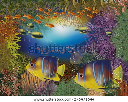 Underwater wallpaper, vector illustration - stock vector