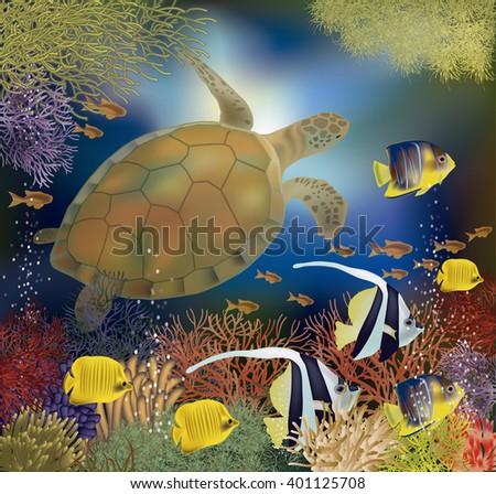 Underwater wallpaper with sea turtle, vector illustration - stock vector