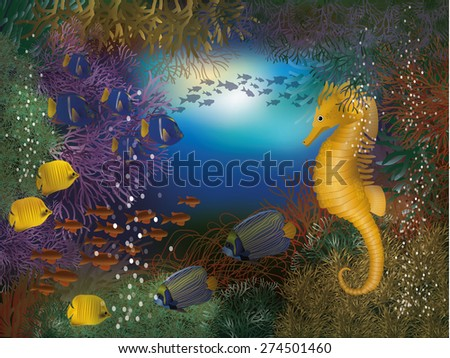 Underwater wallpaper with seahorse and fish, vector illustration - stock vector