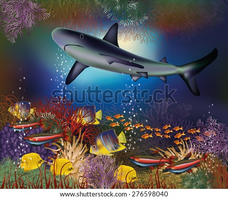 Underwater wallpaper with shark and tropical fish, vector illustration - stock vector