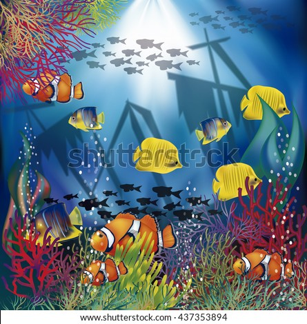 Underwater wallpaper with  tropical fish, vector illustration