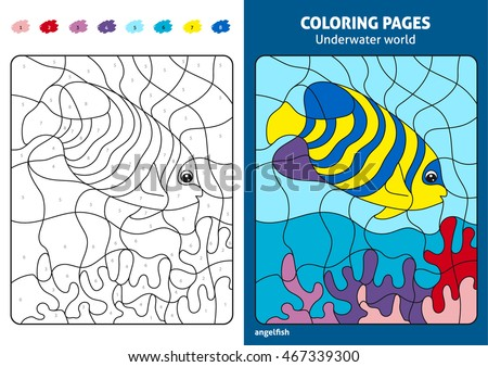 Underwater World Coloring Page Kids Angelfish Stock Vector (Royalty ...