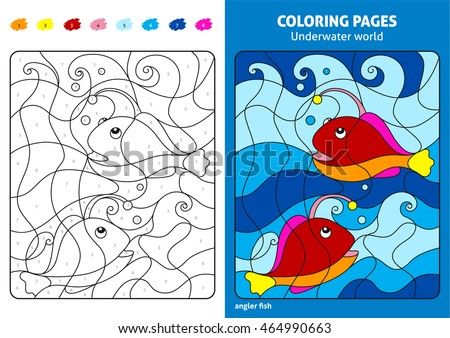 Underwater World Coloring Page Kids Angler Stock Vector (2018 ...