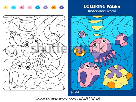 Underwater World Coloring Page For Kids Jellyfish Printable Design Book Puzzle