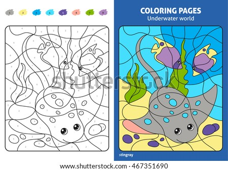 underwater world coloring page for kids stingray printable design coloring book coloring puzzle - Stingray Coloring Pages Printable