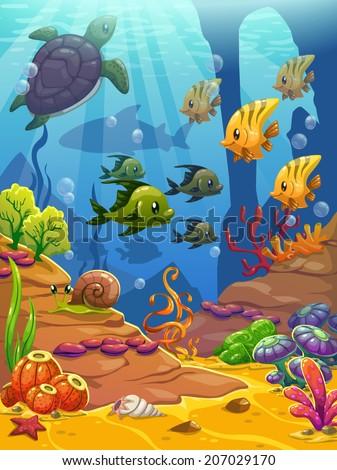 Underwater world, vector illustration - stock vector