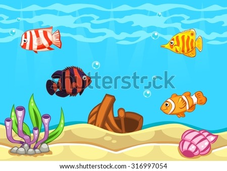 Underwater world vector illustration with algae, boat, seashell and fishes - stock vector