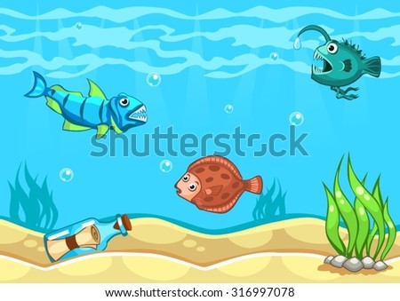 Underwater world vector illustration with algae, message in a bottle and fishes - stock vector
