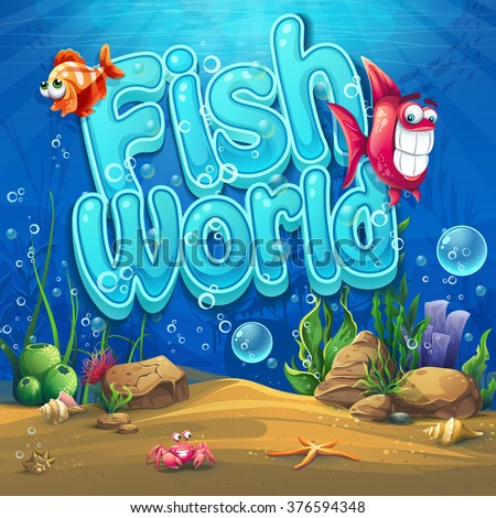 Underwater world with fish Vector illustration background for graphic and web design - stock vector