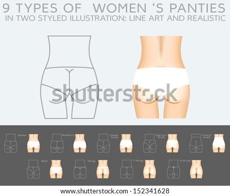 Womens Underwear Types Underwear Vector Set 9 Types