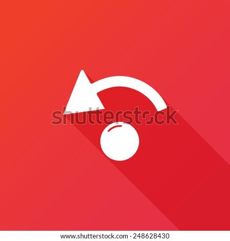 Undo Icon. Flat design style. Long shadow - stock vector