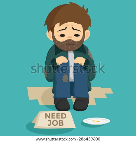 Unemployed Man Sit On The Side Of Street With Need Job Text On The Paper - stock vector