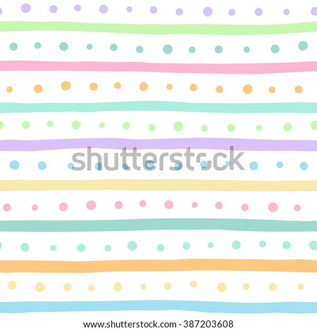 Uneven multicolored stripes and dots vector seamless pattern. Free hand drawn colorful bars and round spots on white background. Easter eggs ornament. Abstract colourful streaks and dots texture. - stock vector
