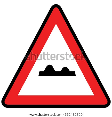 Uneven road sign. Vector Illustration.