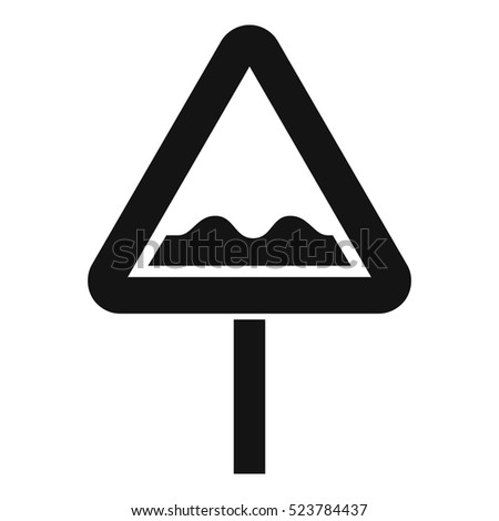 Uneven triangular road sign icon. Simple illustration of uneven triangular road sign vector icon for web