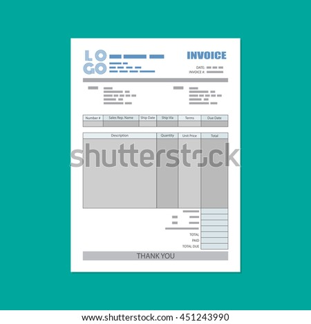 unfill paper invoice form. tax. receipt. bill. vector illustration in flat style on green background - stock vector
