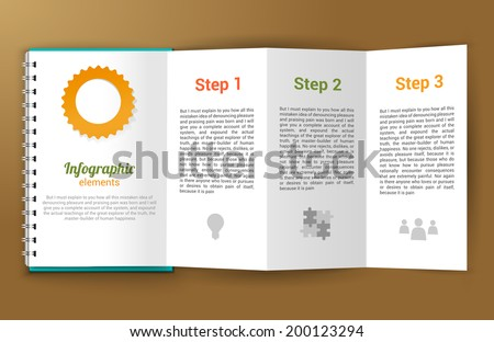 Unfolded paper notepad with infographic steps elements vector illustration - stock vector