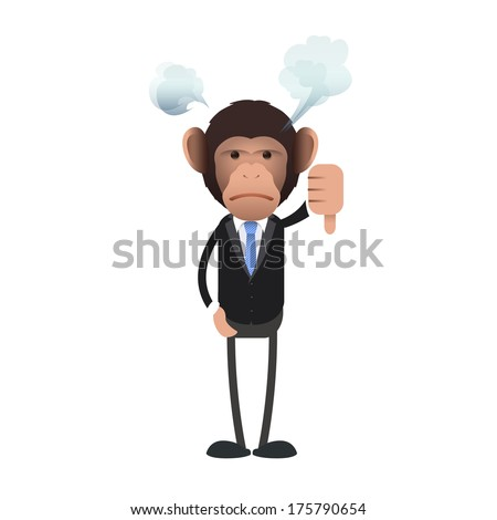 Unhappy business monkey with his thumb down over isolated background. Vector design.  - stock vector