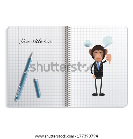 Unhappy business monkey with his thumb down printed on notebook.  - stock vector