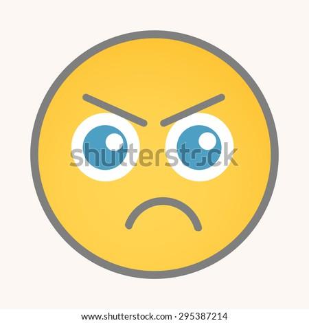 Unhappy - Cartoon Smiley Vector Face - stock vector