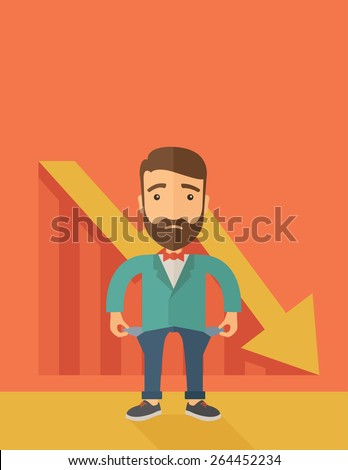 Unhappy, sad Caucasian hipster businessman with beard wearing a red bow tie standing with empty pockets. An arrow pointing downward showing that he is a failure. Loser, broke concept. A contemporary - stock vector
