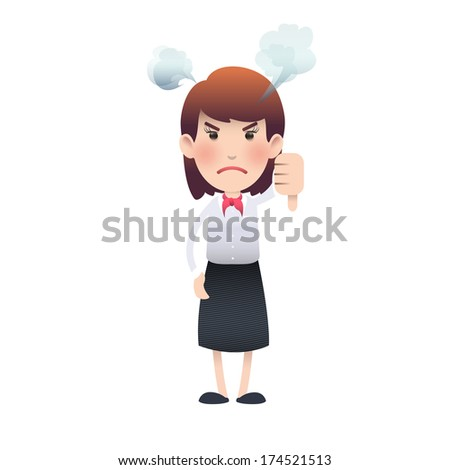 Unhappy woman with her thumb down over isolated background. Vector design.