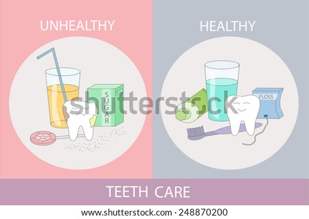 Unhealthy and healthy teeth care. Cartoon dental images. - stock vector