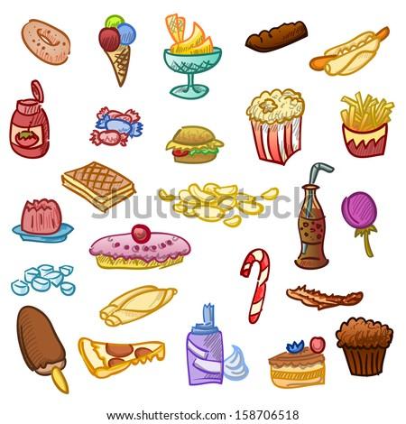 Unhealthy Food - stock vector