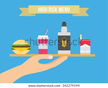 Unhealthy lifestyle vector illustration. Cigarettes, alcohol and junk food flat illustration. - stock vector