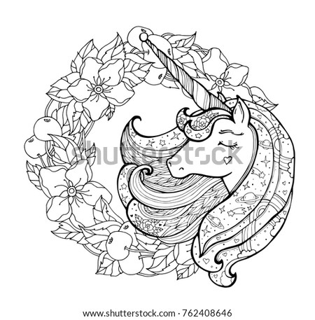 Unicorn Apple Flower Wreath Magical Animal Stock Vector (2018 ...