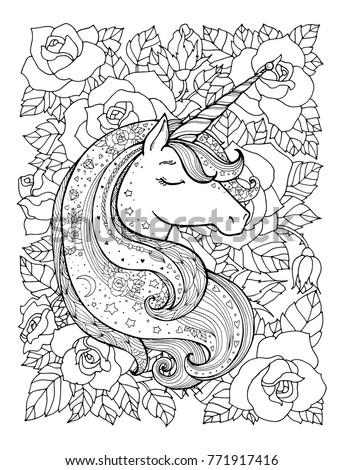 Unicorn Rose Flowers Magical Animal Vector Stock Vector ...