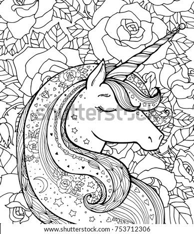 Unicorn Rose Pattern Magical Animal Vector Stock Vector ...