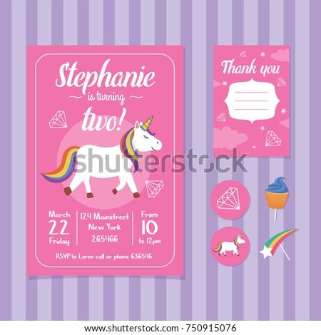Unicorn birthday invitation card template stock vector 750915076 unicorn birthday invitation card template stopboris Gallery