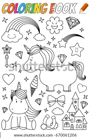 Unicorn Coloring Book Template Stock Vector 670061206 - Shutterstock