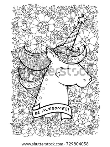 Unicorn Flower Pattern Magical Animal Vector Artwork Black And White Coloring