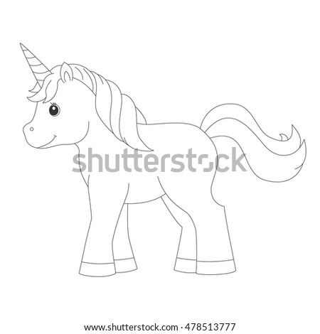 Unicorn for coloring book.Vector illustration.Isolated on white background.
